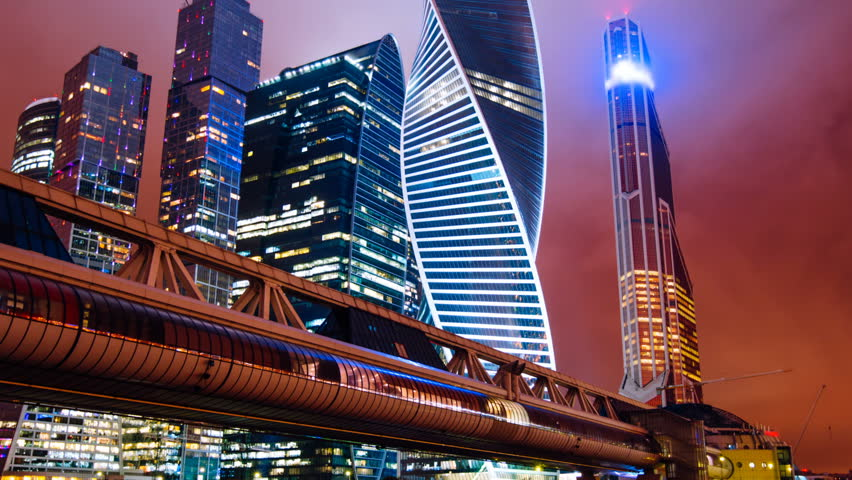 Zoom out Timelapse hyperlapse of Moscow city international business district at night | Shutterstock HD Video #34549720