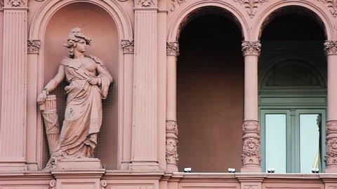 Statue in the Casa Rosada Facade (Pink House), Buenos Aires, Argentina.