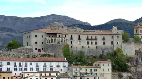 4K Italy, Basilicata region, Muro Lucano, view of the castle and the ancient village. It is a real jewel set on the rock 600 meters above sea level.