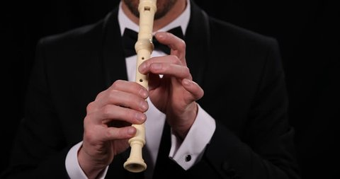 Flutist Man Playing Recorder Flute Instrument Close Up Classical Music Performer