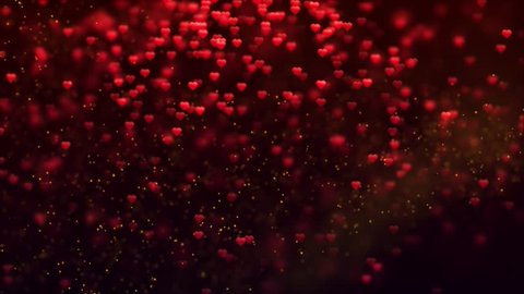 Romantic Spinning Dangling Glowing Love Hearts Shape red Particles Flying & Moving Loop dark Background For Valentines Day, Mother's Day, birthday, Wedding , anniversary , greeting cards invitation