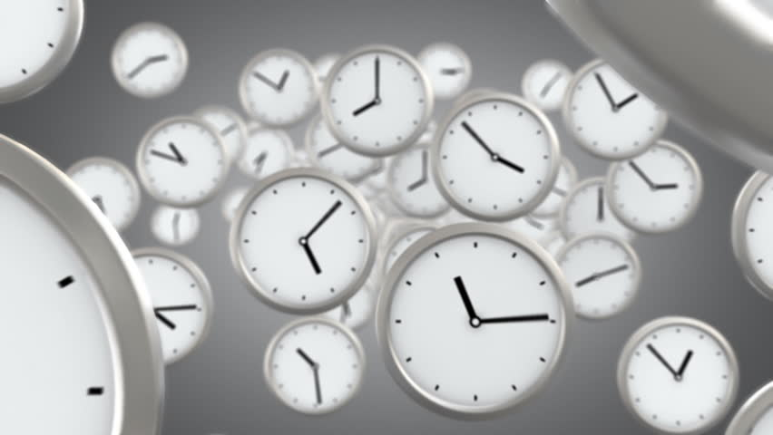 you need to hurry, background of flying time, seamless looped 3d animation