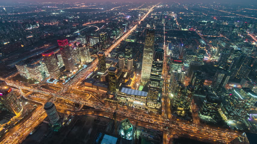 Timelapse.Aerial View.Beijing Landmark Downtown Skyscrapers with Traffic Flow at Night,China | Shutterstock HD Video #34663690