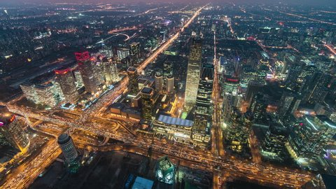 Timelapse.Aerial View.Beijing Landmark Downtown Skyscrapers with Traffic Flow at Night,China