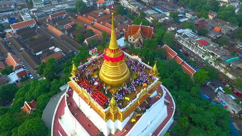 Aerial View at Golden mountain (phu khao thong), an ancient pagoda at Wat Saket temple in Bangkok, Thailand