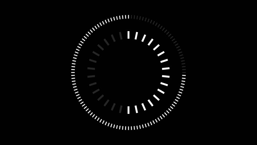 HUD element digital - pending loading screen - loop with loopable segments - circular white on black background
