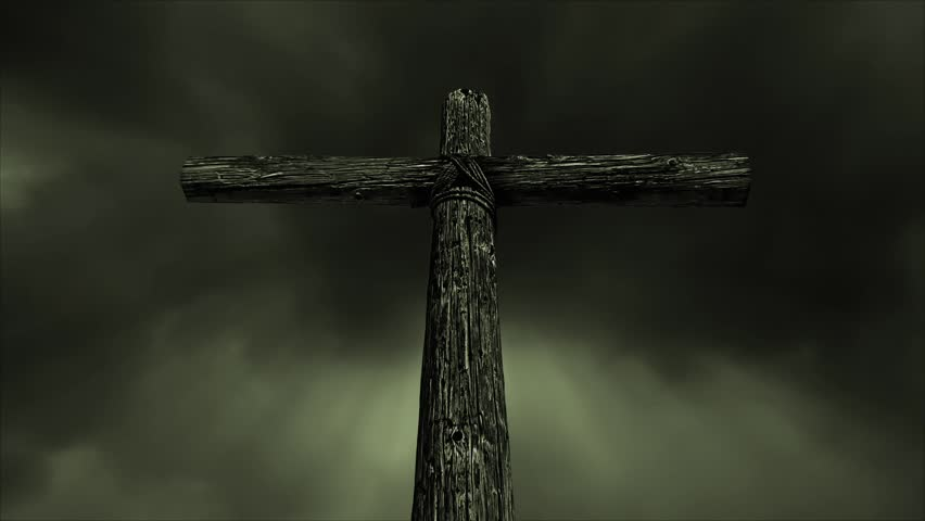 Cartoon look christian cross stock footage video 21479419 loop features an old rugged wooden cross standing against a time lapse motion cloud sky with voltagebd Gallery