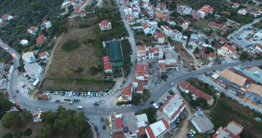 Skiathos town on the Skiathos island in Greece as seen from the air. Aeiral drone footage.