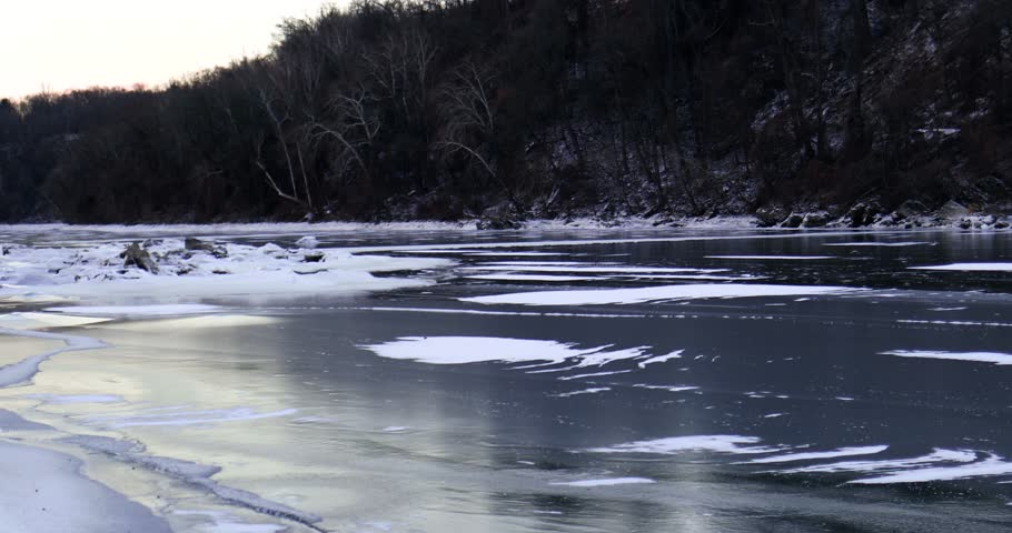 The Potomac River in Washington, DC freezes over after Winter Storm Grayson and a polar vortex bring record low temperatures to the city in January 2018.