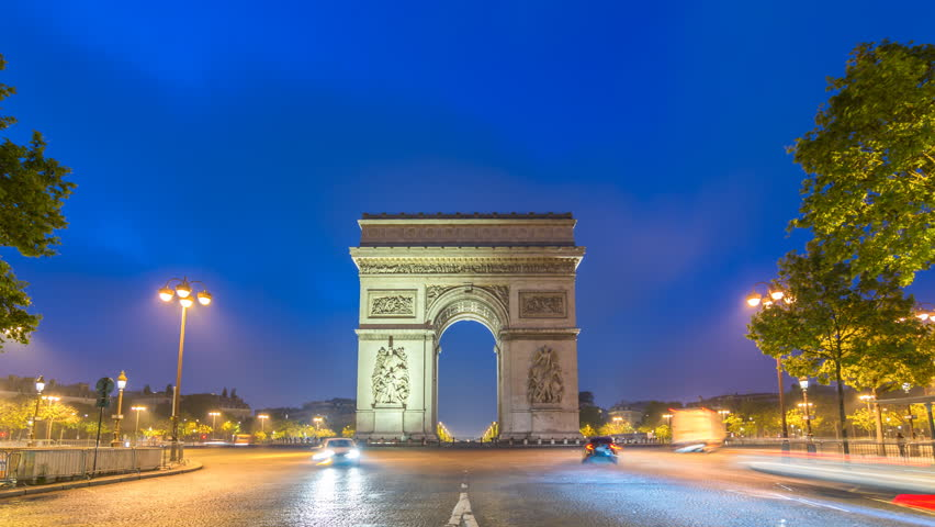Paris city skyline night to day timelapse at Arc de Triomphe and Champs Elysees, Paris, France 4K Time lapse | Shutterstock HD Video #34779856