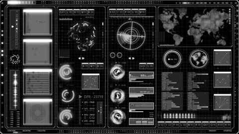 Futuristic technological hud interface  high detailed abstract black and  white techno screen  seamless loopable footage