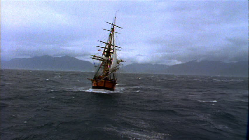 Ship sailing in rough seas