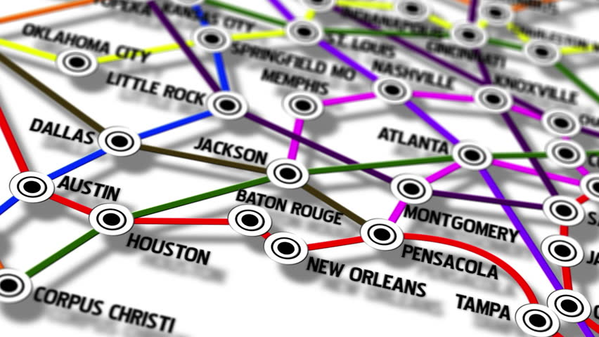 USA Main Cities Subway Map Design Macro