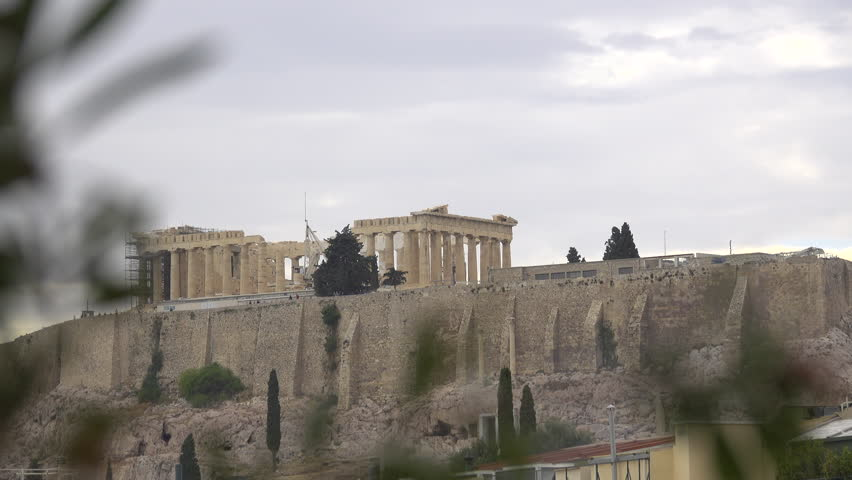 View of the distant Parthenon on the Acropolis in Greece