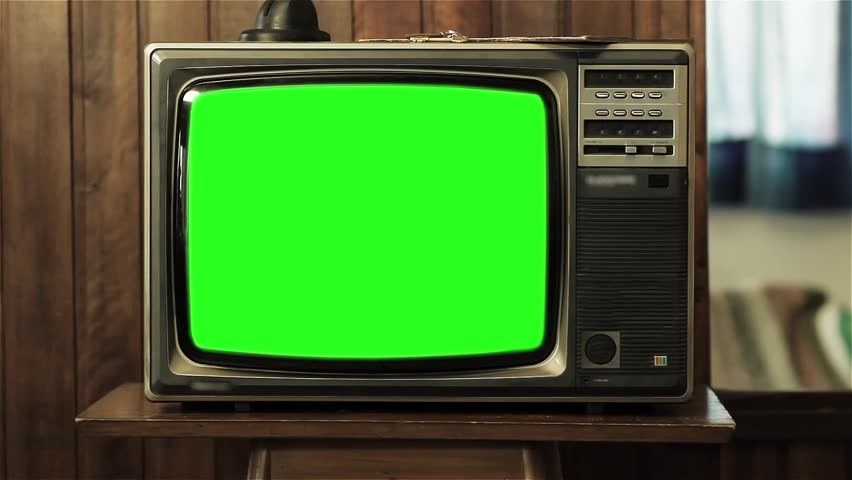 "80s Television with Green Screen. You can replace green screen with the footage or picture you want. You can do it with ""Keying"" (Chroma Key) effect in AE (check out tutorials on YouTube). 