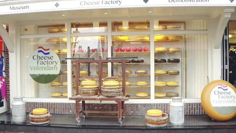 VOLENDAM, NETHERLANDS - DECEMBER 30, 2017. Traditional Dutch cheese factory and museum
