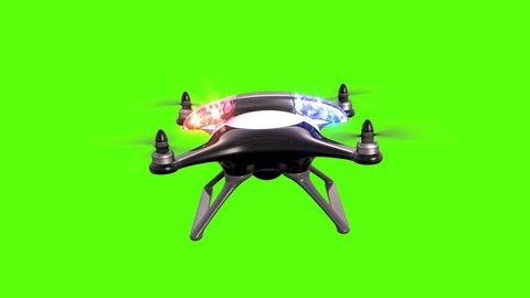 Police quadcopter on a green background, seamless looping 3d animation, 4K