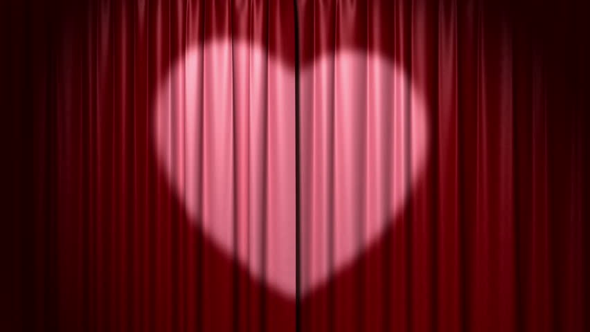 Opening and closing curtain with heart, 3d animation with green screen