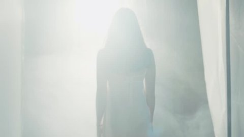 Seductive female silhouette in a white nighty walking to the bright sunlight, surrounded with fog or smoke. Wonder, miracle. Paranormal activity, mystery. Sun shining through the window