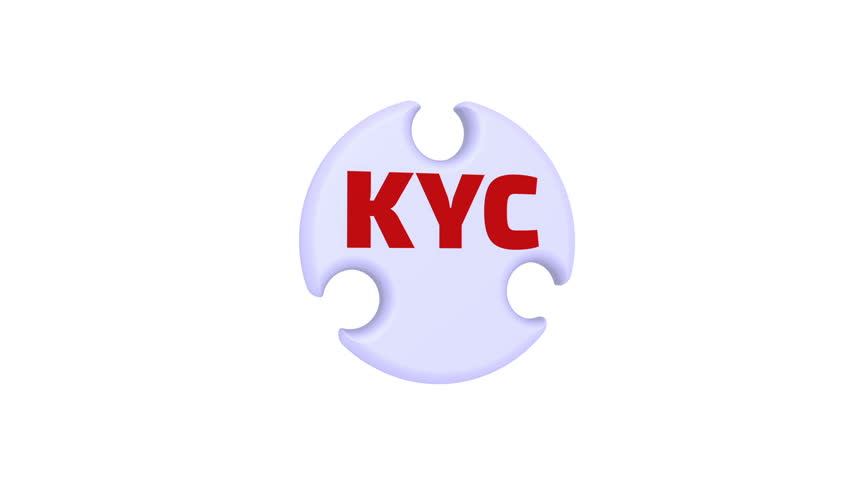 "KYC. Know Your Customers. The mark in the form of a puzzle. The inscription ""KYC. Know Your Customers"" on the puzzle in the shape of a circle. Footage video 