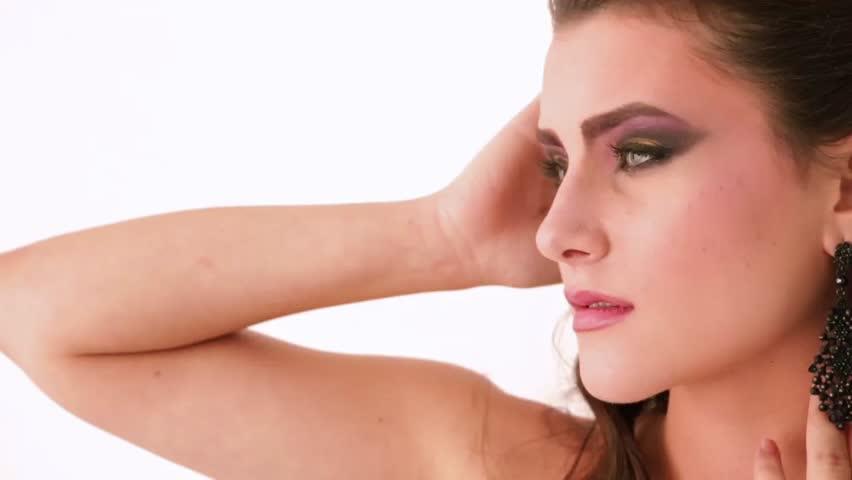 Stylish girl with fashion make-up    Shutterstock HD Video #34934140