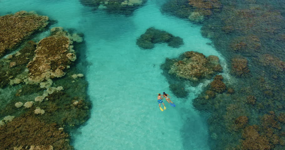 Cinematic aerial view of couple snorkeling over tropical reef in Hawaii
