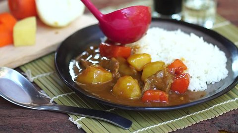 Japanese Curry is one of the most popular dishes in Japan. It is commonly served with streamed rice.