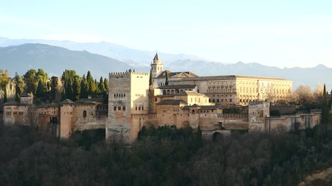 Panoramic view of the Alhambra of Granada, Andalusia, Spain. Filmed in January 2018.