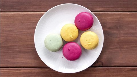 macaroons on plate, cookies animation, stop motion
