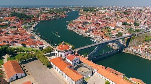 Portugal Porto aerial video Luis bridge Vila Nova de Gaia Monastetyda Serra do Pilar