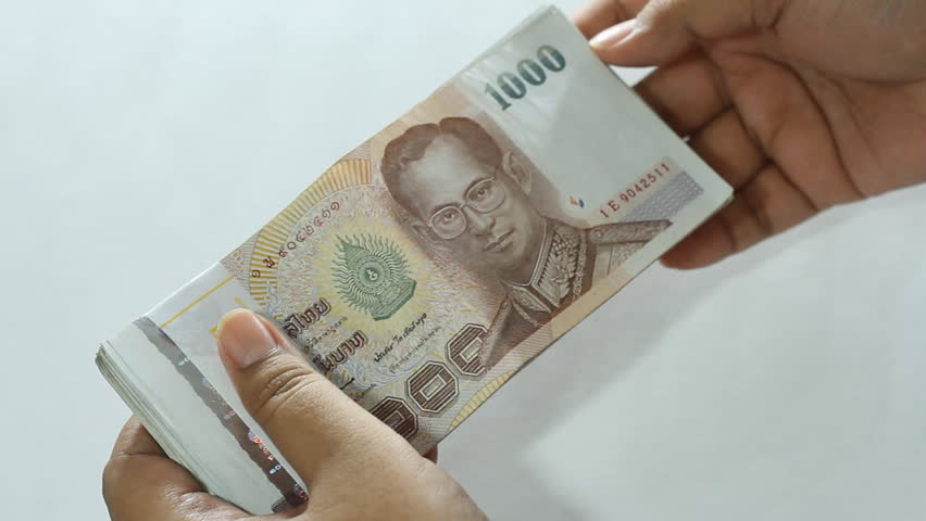 Hands Holding Money And Split Thai Baht Stock Footage -4629