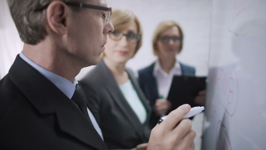 Man teaching ladies office workers to monitor the market, brainstorm, teamwork