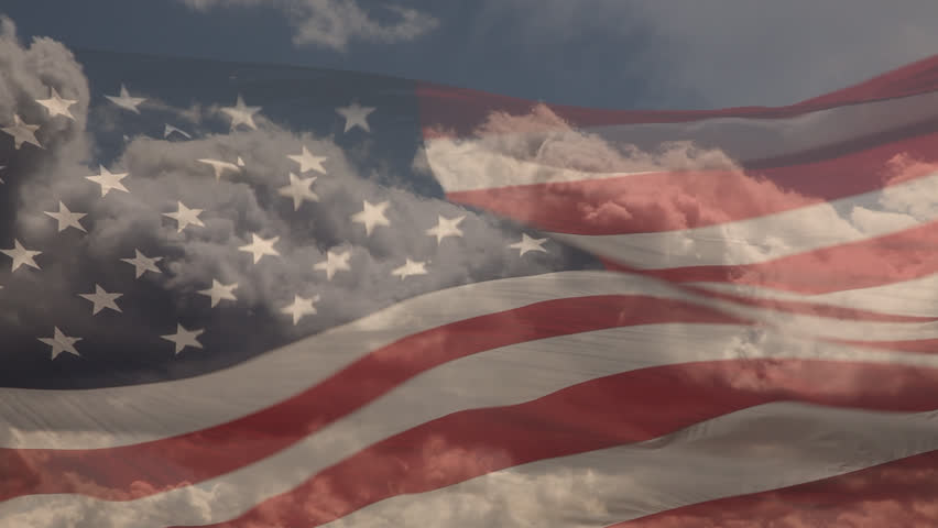 Ghosted Slow Motion American Flag Waving with Time-lapse Clouds.