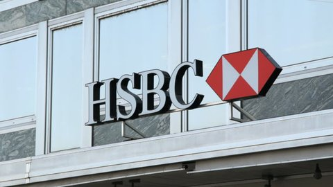 GENEVA - MARCH 2013 : Sequence of few shots of HSBC bank in Geneva, Switzerland, during winter.