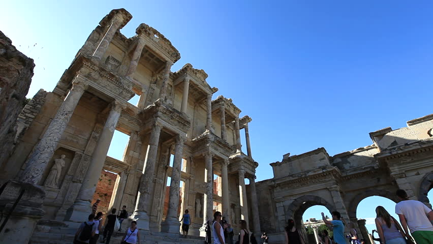 SELJUK, TURKEY - JUNE 10: People visit Celsus library in Ephesus and tourists on June 10 2012 in Seljuk.