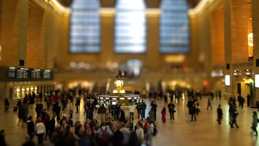 NEW YORK - MARCH 23: (Time lapse) People cross the Main Concourse of Grand Central Terminal on March 23, 2011 in New York, New York. Tilt-shift effect.