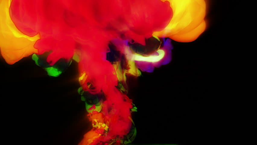 abstract coloured liquids mixing in water shot in super slow motion with the sony FS700 high speed camera