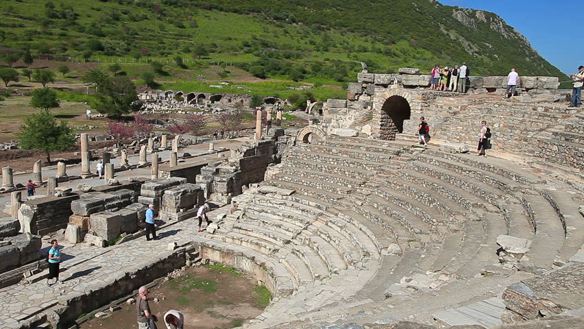 EPHESUS, TURKEY - JUNE 10: Tourists visit Odeion in the Ephesus amphitheater on June 10, 2012