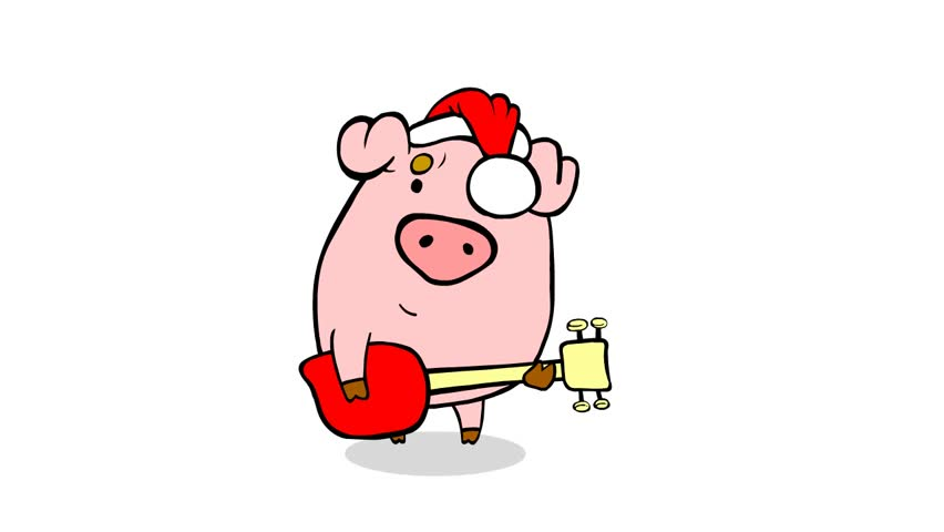 Christmas Performance From Nice Cartoon Pig Stock Footage