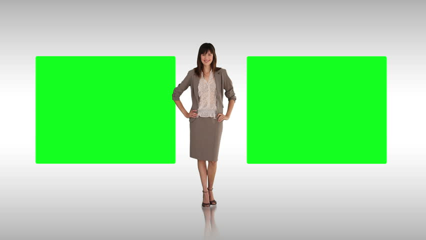 Animation of a businesswoman making a presentation with two green screens