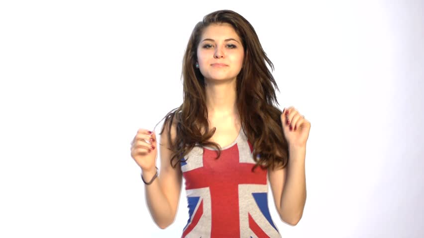HD1080p25 Sexy woman dancing in union jack shirt