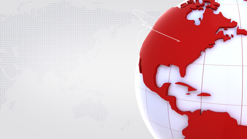 Computer-rendered animation of turning globe with red continents on white background  | Shutterstock HD Video #3617150