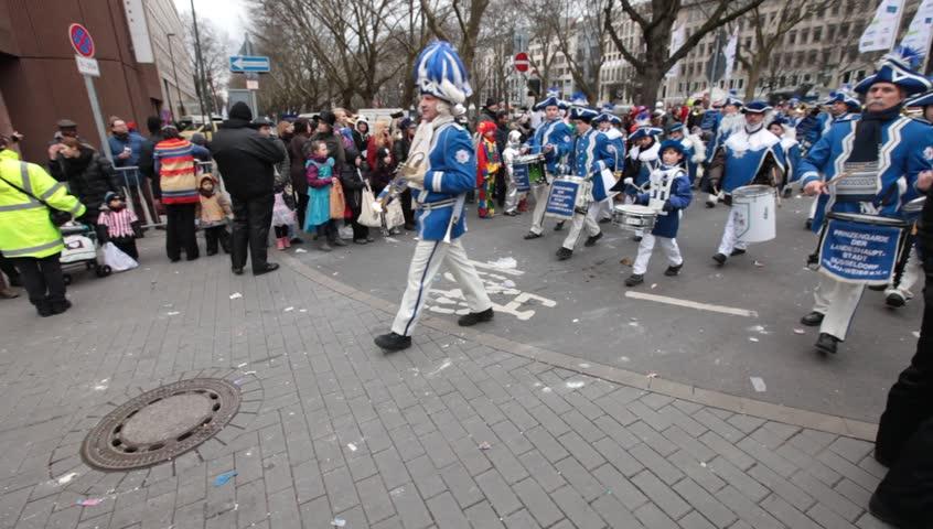 DUSSELDORF, GERMANY – FEBRUARY 11: People celebrate Rosenmontag Karneval or Carnival. February 11, 2013,  Dusseldorf, Germany
