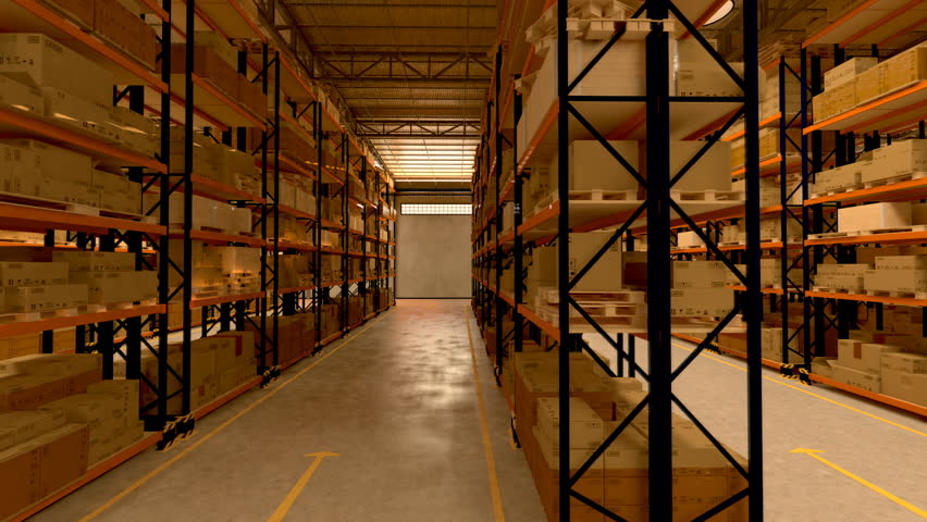 Warehouse interior 3d loopable animation. Camera is moving forward. | Shutterstock HD Video #3633026