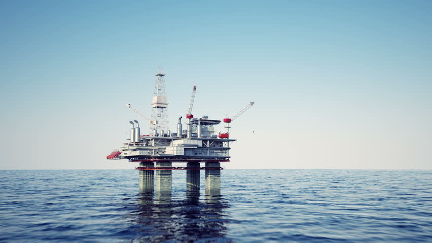 Oil platform on sea is offshore structure with facilities to drill wells, extract and process oil and natural gas and temporarily store produced goods until it can be brought to the shore for refining | Shutterstock HD Video #3633983
