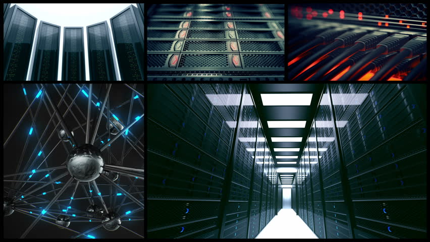 Combination of different shots with servers. | Shutterstock HD Video #3634100