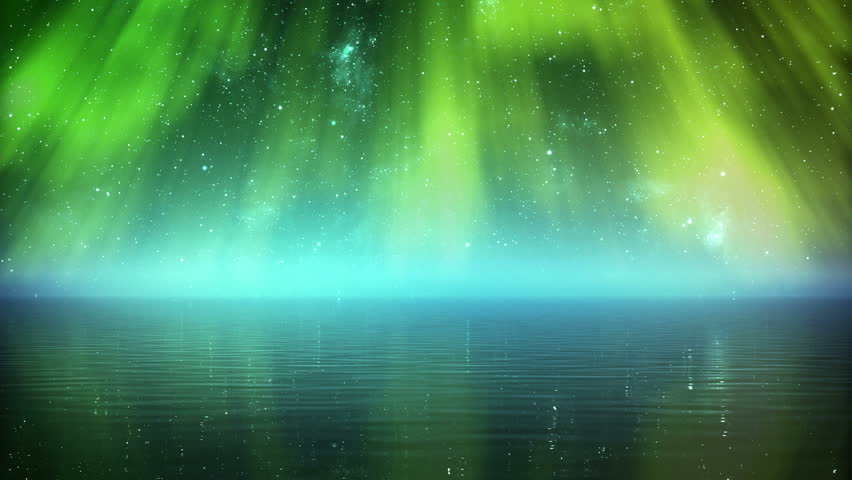 Time-lapse 3d animation of glowing aurora over the sea.