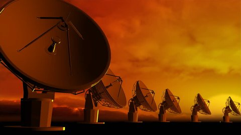 The radio-aerials on sky background