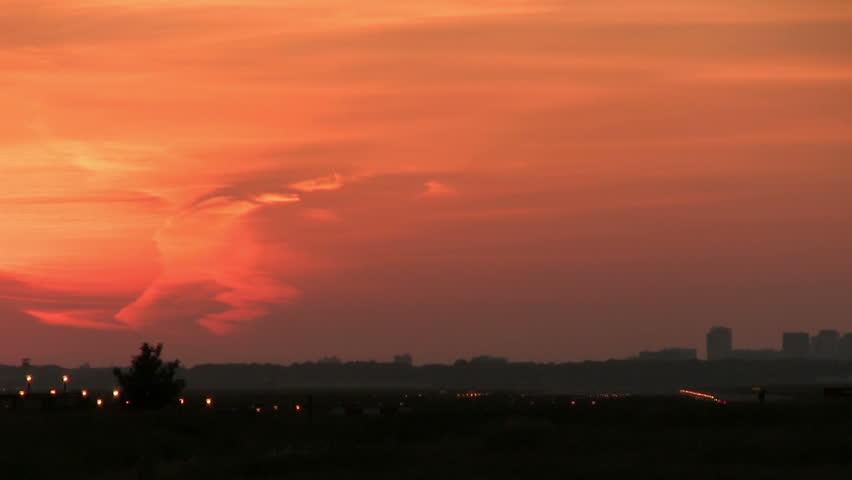 Boeing 747 landing at dusk