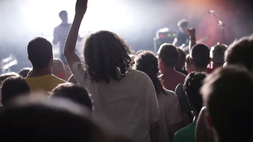 Shot of some cheering fans at a life concert, slow motion, some visible noise due high ISO, soft focus, also normal speed version of this video available in my portfolio